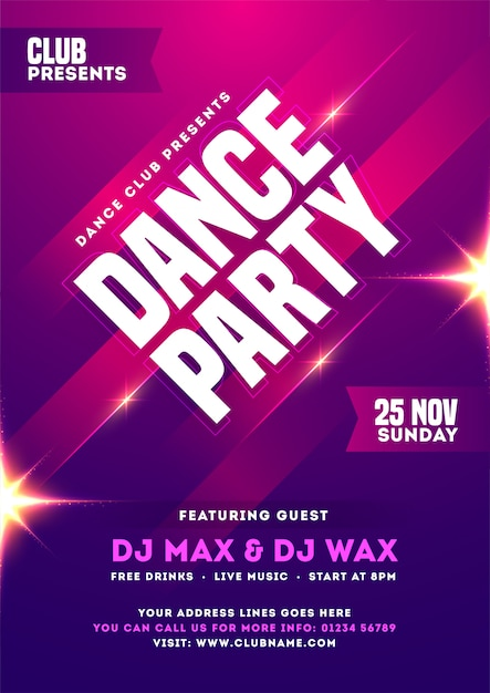 Dance Party Invitation Card Template Or Flyer Design With