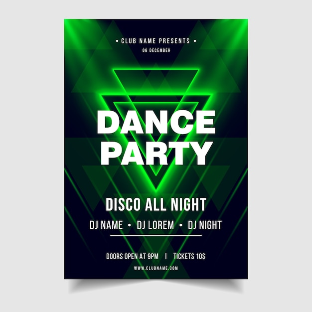 Dance party night music event poster template Premium Vector