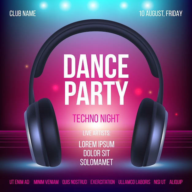 Dance party poster. placard invitation music club headset realistic illustration with place for text Premium Vector