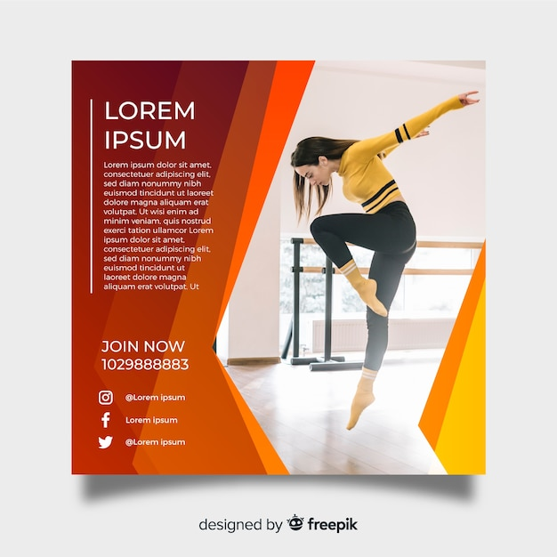 Dance poster template with photo Free Vector