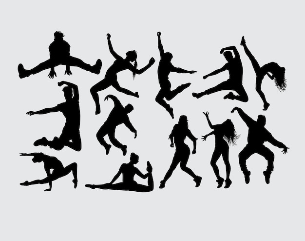 Dance showing male and female gesture silhouette Premium Vector