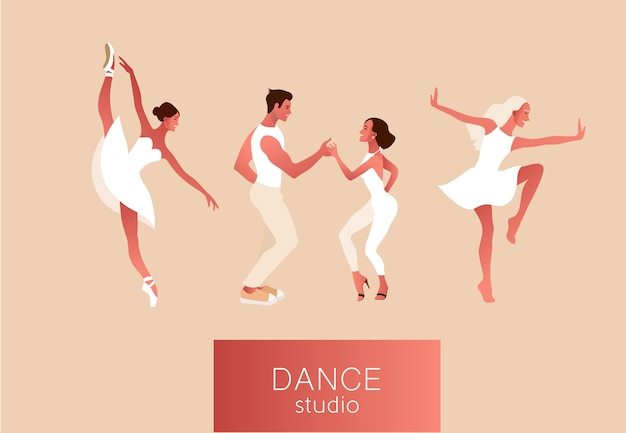 Dance studio. set of happy active positive women dancing. ballerina in a tutu, wearing pointe shoes, couple dancing salsa. illustration Premium Vector