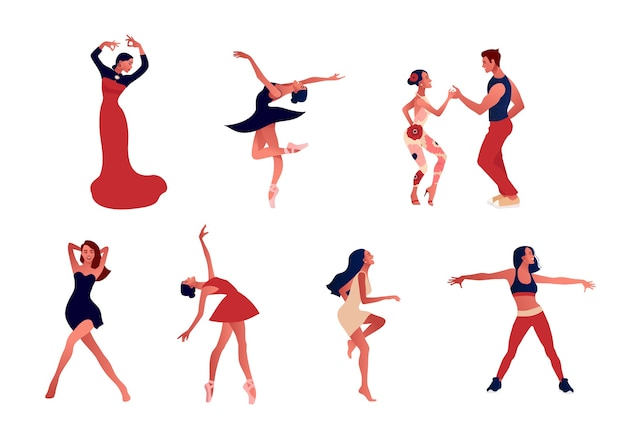 Dance studio. set of happy active positive women dancing. Premium Vector