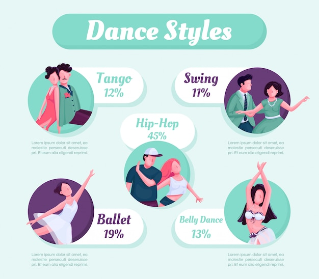 ダンススタイルのインフォグラフィック Premiumベクター