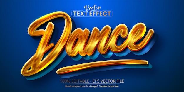 댄스 텍스트, 반짝이는 골드 스타일 편집 가능한 텍스트 효과 프리미엄 벡터