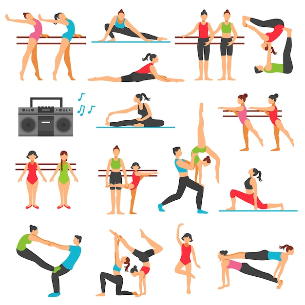Dance training decorative icons set Free Vector