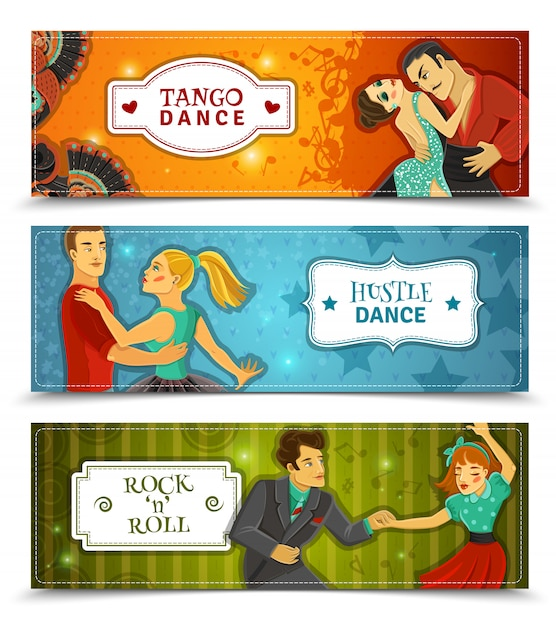 Dance vintage horizontal flat banners set Free Vector