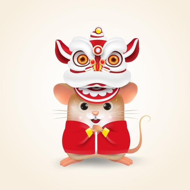 リトルラットまたはマウスは、中国の新年のdance子舞を実行します。 Premiumベクター