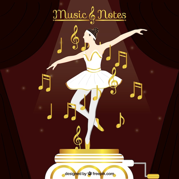 Dancer background with golden musical\ notes