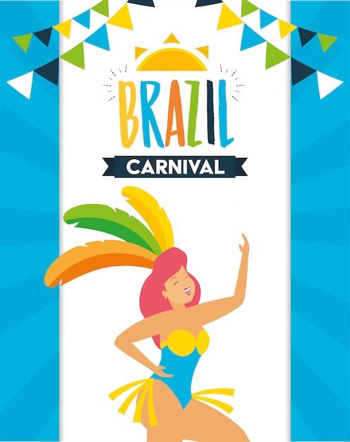 Dancer brazil carnival Free Vector