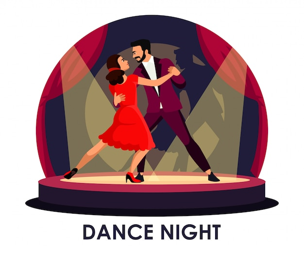 Dancer performing on stage under spotlight Premium Vector