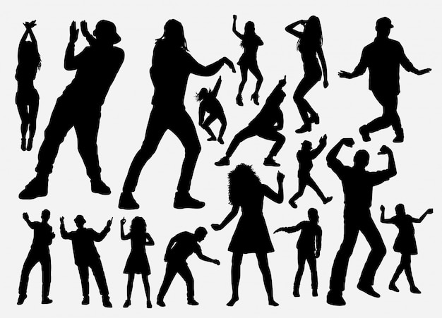 Dancer and rapper man and woman silhouette Premium Vector