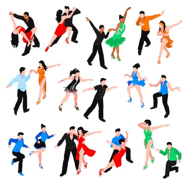 Танцы изометрические люди set Бесплатные векторы