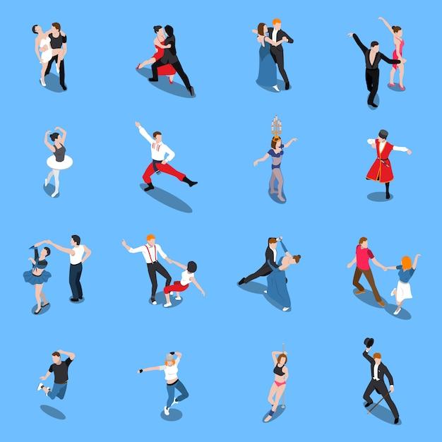Танцы профессиональные исполнители изометрические люди Бесплатные векторы