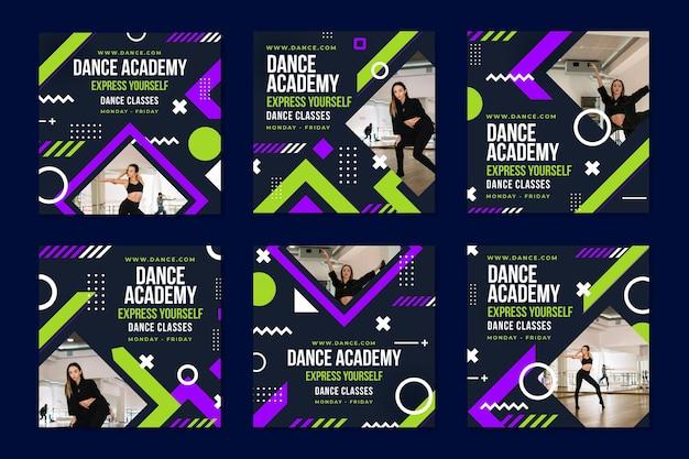 Шаблон сообщения instagram академия танцев Бесплатные векторы