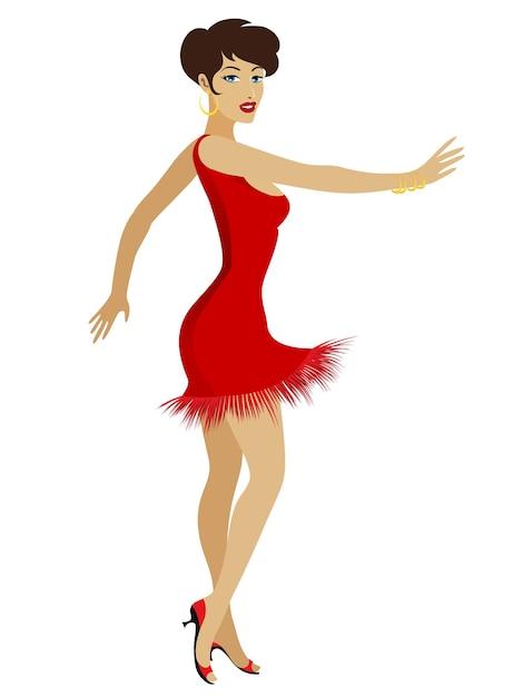 分離された赤いセクシーなドレスのダンス社交かなり若い女性の漫画 無料ベクター