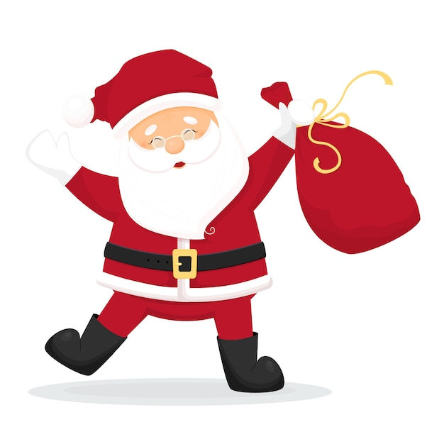 Dancing Cartoon Santa Claus With Bag With Presents Isolated