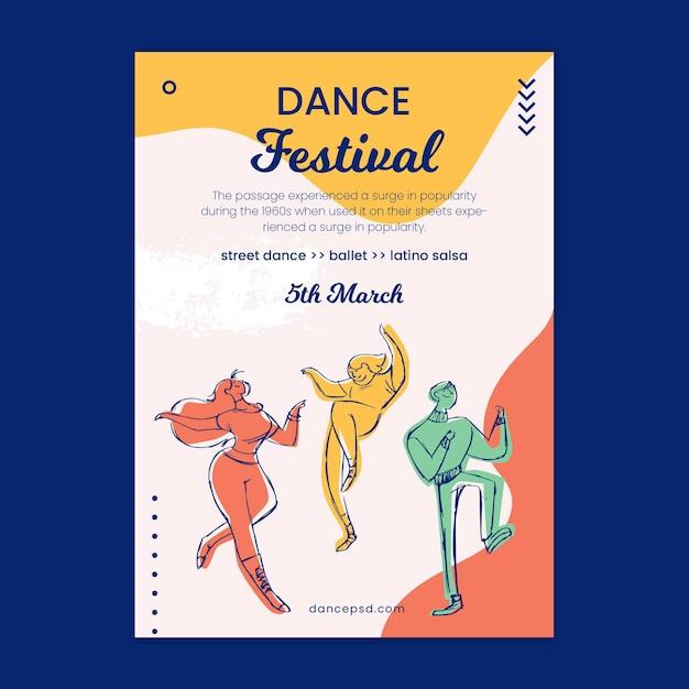 Шаблон плаката школы танцев Бесплатные векторы