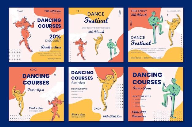 Шаблон сообщения в социальных сетях школы танцев Бесплатные векторы