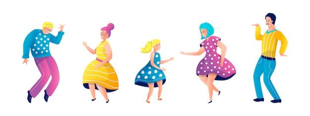 Dancing family illustration set Premium Vector