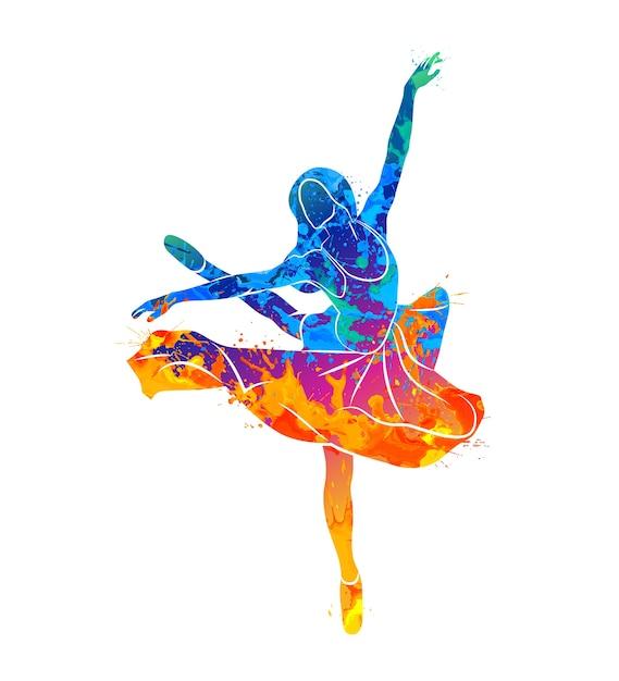 Dancing girl in watercolor concept Premium Vector
