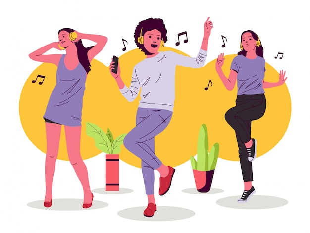 Dancing girl and women   illustration Premium Vector