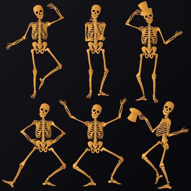 Dancing golden skeletons Premium Vector