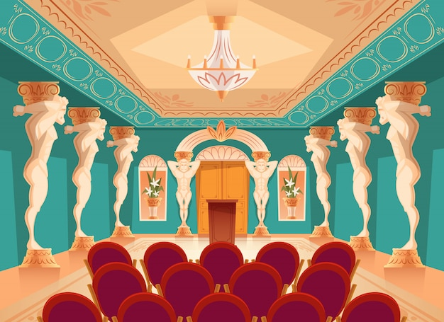 Dancing hall with atlas pillars and armchairs for audience, spectators. Free Vector