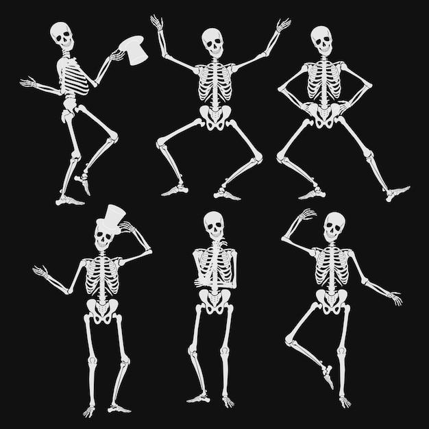 Танцующие силуэты человеческого скелета в разных позах изолированы Premium векторы