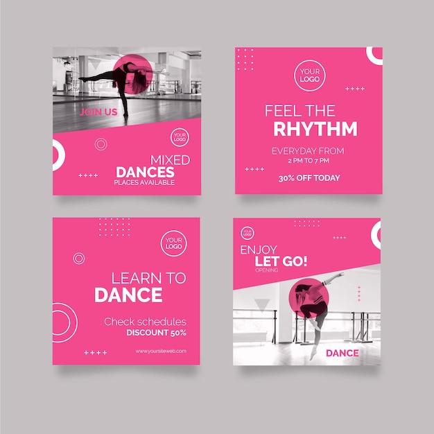 Танцы в instagram посты Premium векторы