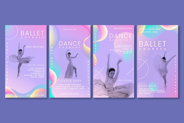 Dancing instagram stories collection Free Vector