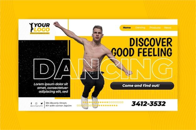 踊るランディングページテンプレート 無料ベクター