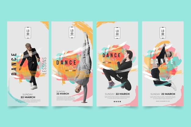 Шаблон рассказов instagram уроки танцев Premium векторы