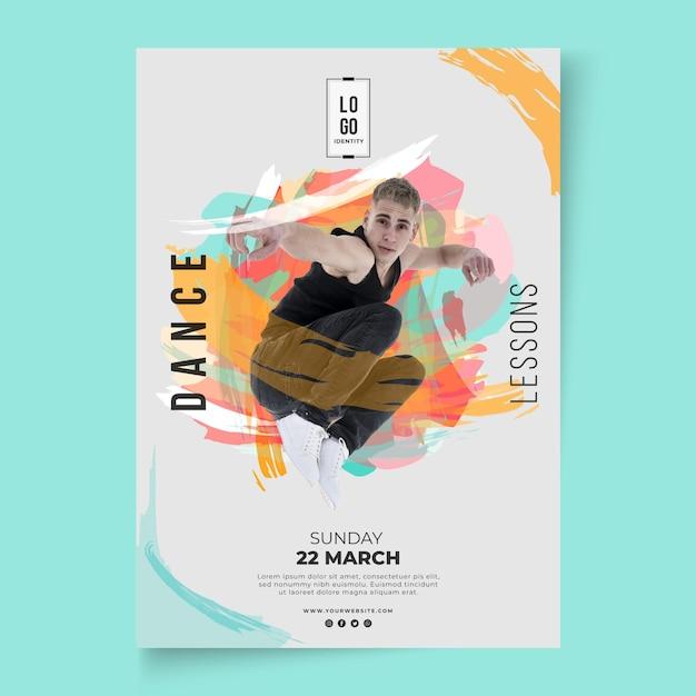 ダンスレッスンテンプレートポスター 無料ベクター
