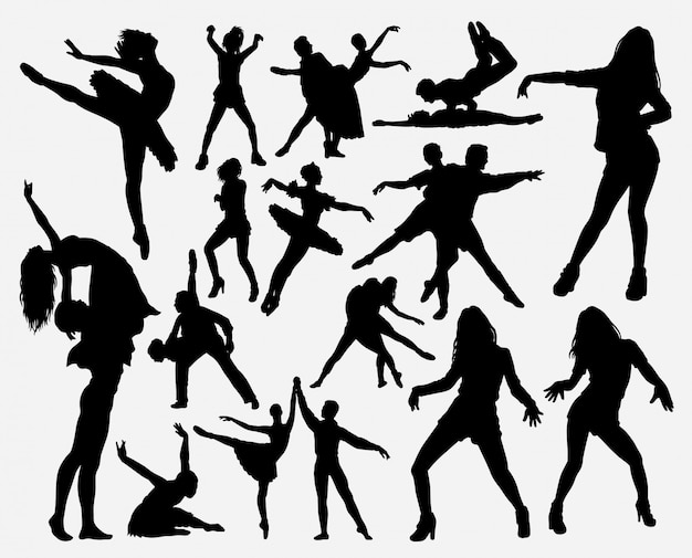 Dancing male and female silhouette Premium Vector