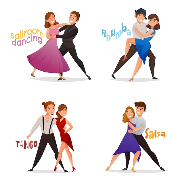 Dancing pairs retro cartoon set Free Vector