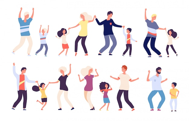 Dancing Parents With Kids Happy Children Dad And Mom Dance Family Woman Man Child Dancers Cartoon Characters Premium Vector