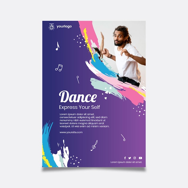 Dancing party poster template Free Vector