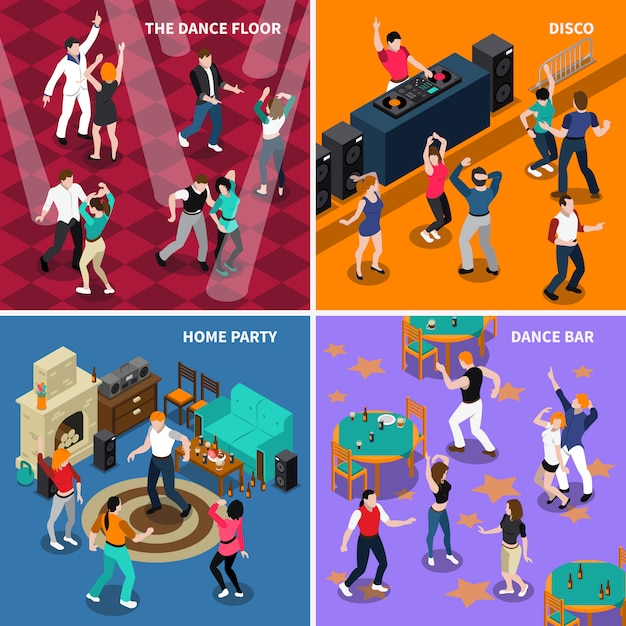 Dancing people 4 isometric icons square Free Vector