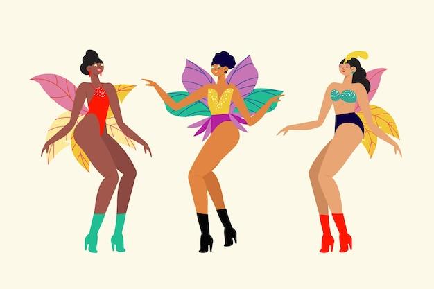 춤추는 사람들이 브라질 카니발 흰색 배경에 고립 무료 벡터