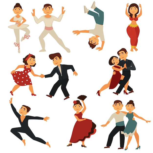 Dancing people flat icons characters dance different dances Premium Vector
