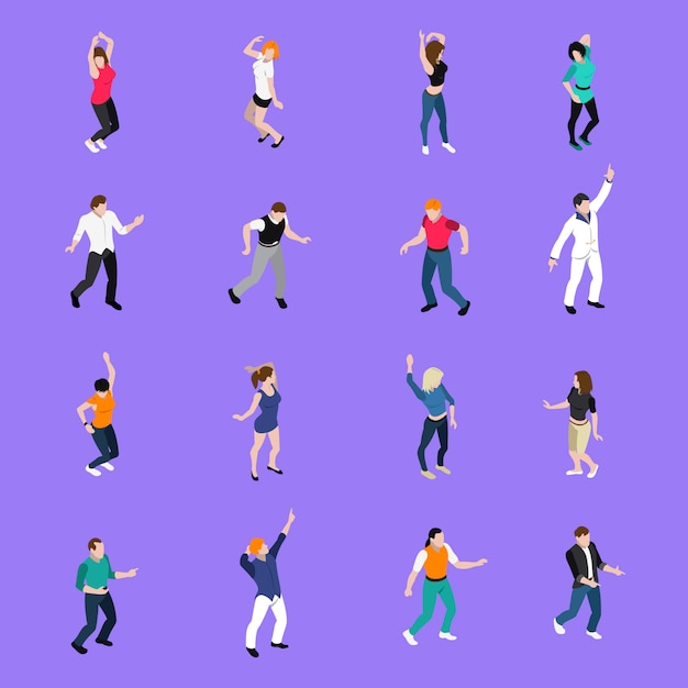 Dancing people movements isometric icons collection Free Vector