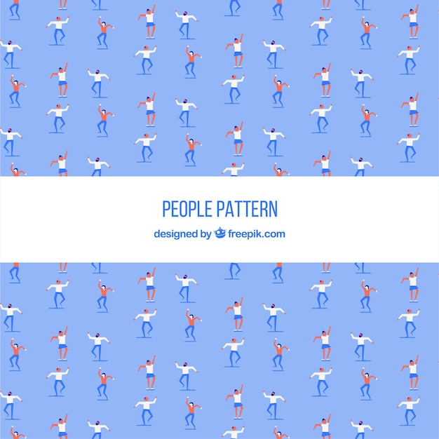 Dancing people pattern with flat design
