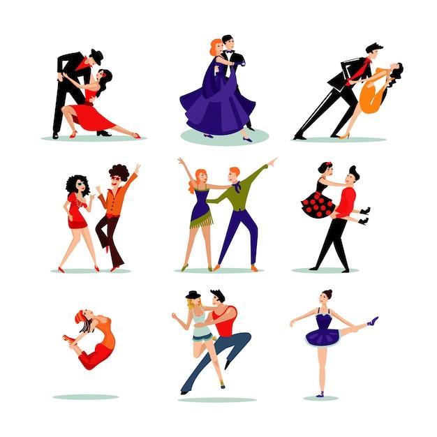 Набор танцующих людей Бесплатные векторы
