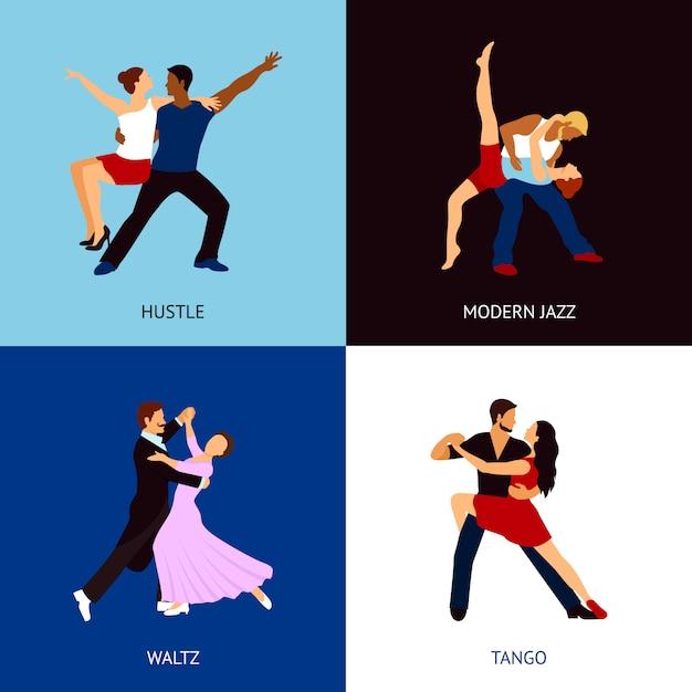 Dancing people set Free Vector