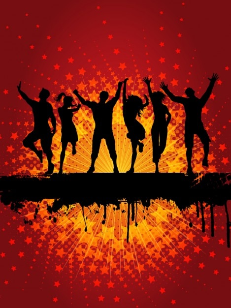 Dancing People Silhouette Background Vector Free Download
