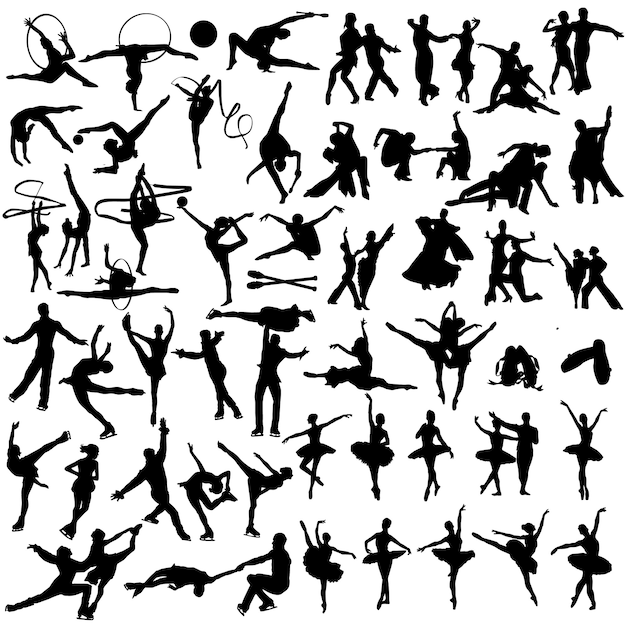 Dancing people silhouette clip art Premium Vector