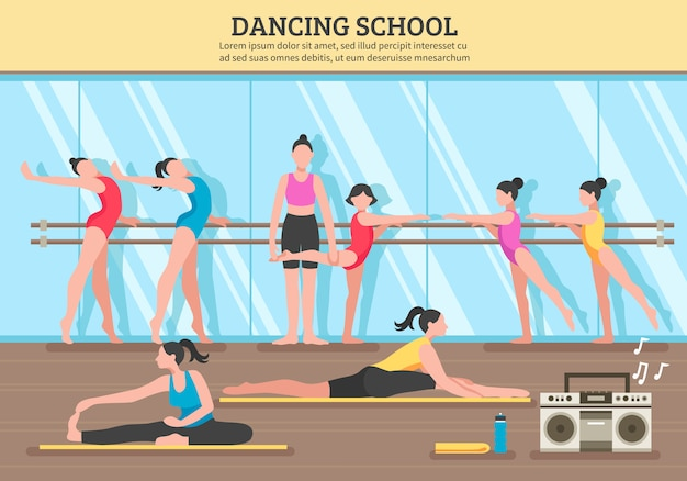 Dancing school flat illustration Free Vector