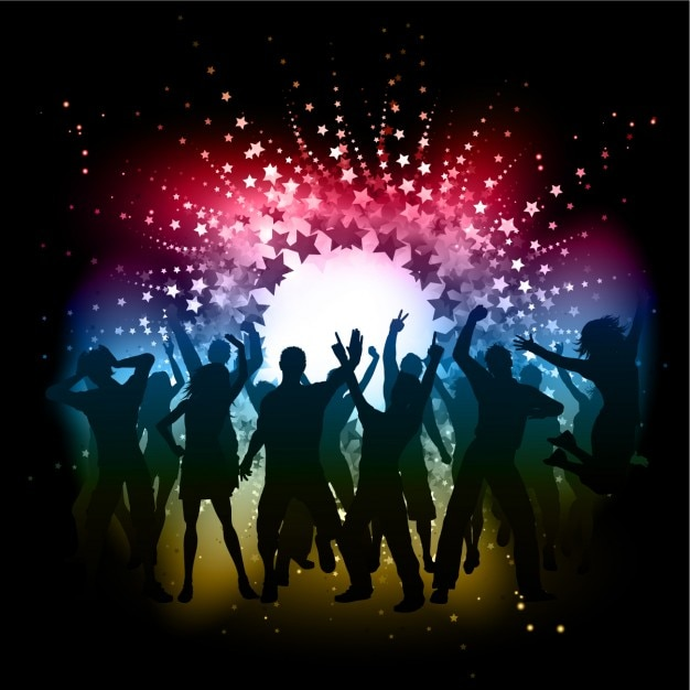 Dancing Silhouettes at Disco Background