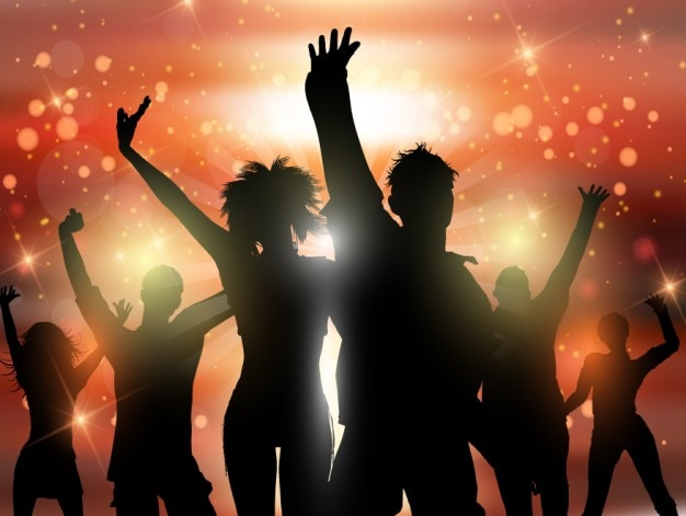 Dancing Silhouettes in a Party\ Background